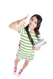 Girl student thumbs up hand gesture Stock Photo