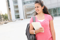 Girl Student Walking on the College Campus Stock Photo