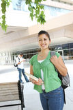 Girl Student Walking on the College Campus Royalty Free Stock Photos