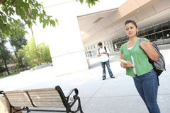 Girl Student Walking on the College Campus Stock Photography