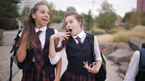 Girl student wearing the same school uniform with backpacks walk through the Park laughing and talking stock video footage