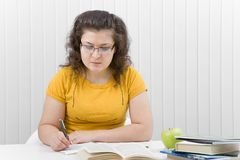 The girl the student with writing-books and books Stock Photography