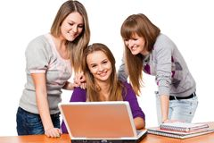 Girl students with notebook Stock Photo
