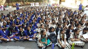 Girl Students in a school Assembly in morning Stock Images