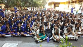 Girl Students in a school Assembly in morning Stock Image