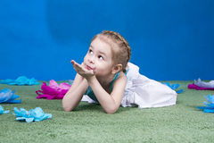 Girl in studio decoration Royalty Free Stock Photos