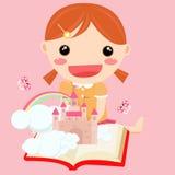 Girl in study stock illustration