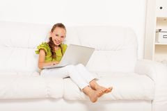 Girl study at home with laptop Royalty Free Stock Image