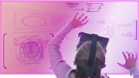 Girl study using virtual reality glasses. Futuristic HUD interface