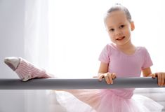 Girl is studying ballet royalty free stock photos