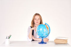 Girl studying at desk Royalty Free Stock Photography