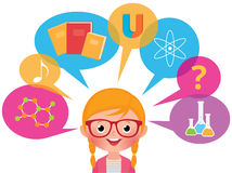 Girl studying different sciences Royalty Free Stock Photos