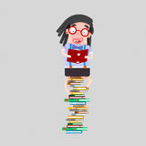 Girl studying on heap of books.3D. 