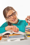 Girl studying at library Royalty Free Stock Photos