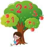 Girl studying math under the tree vector illustration