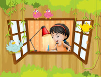 A girl studying near the window with birds Royalty Free Stock Images