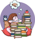 Girl studying at night sleeping with books - Vector illustration Stock Photo