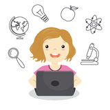 Girl studying online. Icons education Stock Illustration