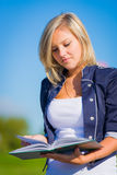 Girl studying outdoor Stock Photography