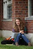 GIrl studying outside Royalty Free Stock Photo