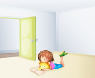 A girl studying in a room Royalty Free Stock Photos