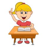 Girl studying with school table cartoon. Full color Vector Illustration