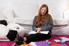 Girl during studying Royalty Free Stock Photography