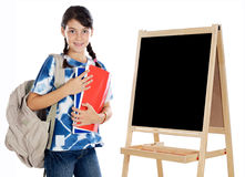 Girl studying whit slate Stock Photos