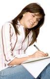 Girl studying on white Royalty Free Stock Photo