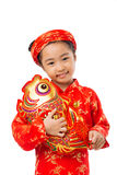 Girl with stuffed fish Stock Photo