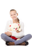 Girl with stuffed toy Royalty Free Stock Photos