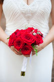 Girl in stunning white wedding gown holds a bright red bouquet of roses. Bunch of large elegant roses to be thrown at wedding royalty free stock photography