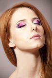 Girl with style make-up. stock image