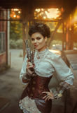 A girl in the style of steampunk royalty free stock photos