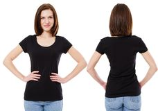 Girl in stylish black t-shirt isolated on white background,copy space,blank stock image