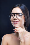 Girl with stylish glasses and teeth braces Stock Image
