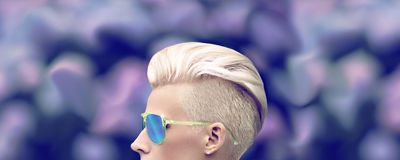 Girl with a stylish haircut Royalty Free Stock Photo