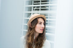 Girl in stylish hat Royalty Free Stock Photo