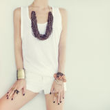 Girl in stylish jewelry Royalty Free Stock Image