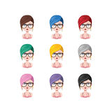 Girl with stylish short hair - 9 different hair colors. ( flat colors Stock Photo