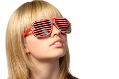 The girl in stylish sunglasses - jalousie Stock Photo