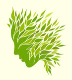 Girl stylized profile. Design with green leaves Stock Photos