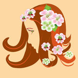Girl stylized profile with spring apple flowers Royalty Free Stock Photos