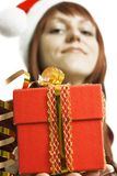 The girl submits a gift Stock Photo