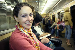 Girl in subway metro Stock Photo