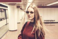 Girl at the subway Stock Photos