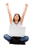 Girl - success on the internet Royalty Free Stock Photo