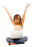 Girl - success on the internet Royalty Free Stock Photography