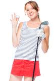 Girl successful golfer posing with props for playing Royalty Free Stock Photo