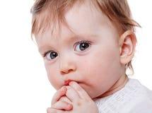Girl sucking finger. Close up Portrait of baby girl sucking finger isolated on white background Stock Image